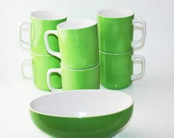 """Gorgeous vintage green Harmony House """"Emerald Isle"""" 4252 ironstone cups and sauce boat"""