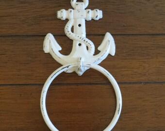 Towel Ring / Antique White or Pick Color / Cast Iron / Anchor Towel Hanger / Nautical Decor / Cottage Beach Design / Bathroom Accessory