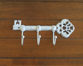 Pale Blue Shabby Chic Key Holder/Or Pick Your Color/Skeleton Key Rack/Cast Iron wall hook/Rustic/Kitchen/Foyer/Entrance/Housewarming Gift