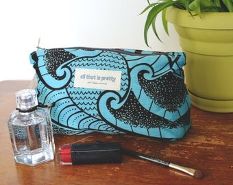 Medium sized Makeup or Cosmetic Bag in African Printed Cotton Blend Fabric