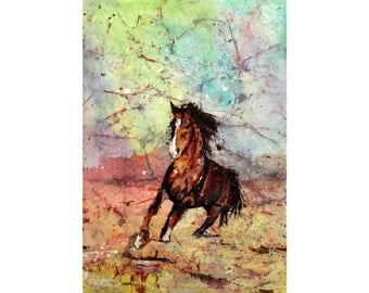 Painting of horse running across tundra- painting horse, horse art.  Horse painting watercolor batik landscape painting wall art home decor