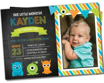 Monster Invitation, Little Monster invite, Monster invitation, Monster Invite, Photo invitation, Birthday invitation, Little Monster (1)