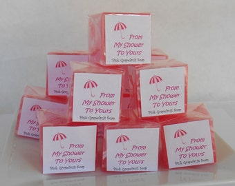 Bridal Shower Soap Favors - Pink White Cube Soaps -Glycerin Soap - From My Shower to Yours - Wedding or Baby Shower