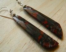 Dinosaur Jasper Earrings, Red and Gray Earrings, Long Gray Earrings, Long Red Earrings, Grey Stone Earrings