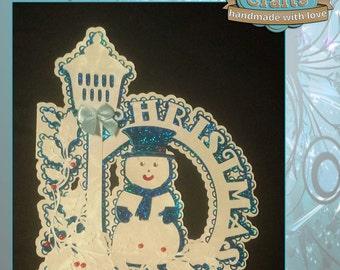 Snowman Lampost Christmas Card