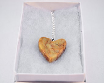 Handmade Marble Heart necklace pendant.