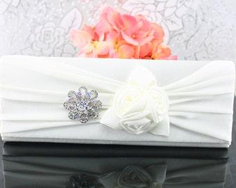 """Wedding Clutch, Wedding Purse, Bridal Clutch, Bridal Purse Satin """"White"""" Purse, Bridal Accessories Style-33"""