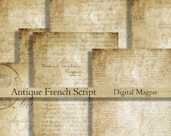 Antique French Script digital paper pack printable scrapbook old paper background grunge aged wrinting instant download  8.5 x 11