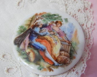 Shepherdess with Companion Transfer on a Porcelain Button