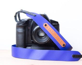 Personalized camera strap leather. Camera strap dslr. Camera strap Canon. Camera strap monogram. DSLR strap. Vivid dark blue. Monogram