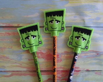 Green Frankenstein Pencil Topper, set of 3, pencil included. Trick or Treat.
