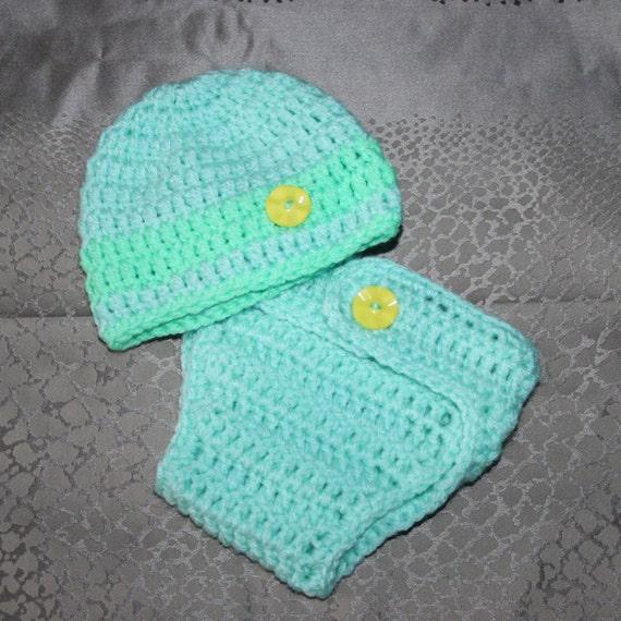 Crochet Newborn Diaper Cover : SALE Crochet Newborn Baby Diaper cover & Beanie Hat set, Mint Green ...