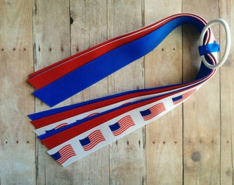CLEARANCE- Ribbon Ponytail Streamers - Red, White and Blue with American US Flag Print, Made in USA, Ready to Ship, Patriotic Hair Tie