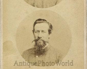 Famous man with great beard mustache strange unusual double CDV photo