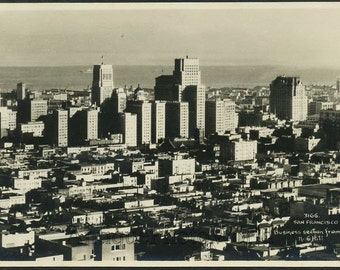San Francisco California aerial view antique photo