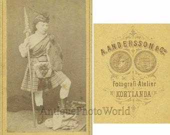 Woman warrior with spear antique CDV photo Sweden