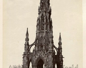 Scott Monument Edinburgh UK antique albumen photo
