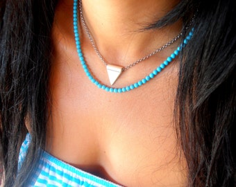 Choker Necklace / Real Turquoise Dainty Necklace/ Bohemian Beaded Choker / Layering Necklace / Delicate / Boho