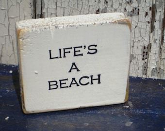 Lifes A Beach,Beach Sign,Best Seller,Wood Wall Art,Bohemian Decor,Reclaimed Wood Art,Boho Chic,Saying On Wood,Small Wood Sign,Wood Block Art