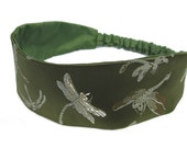 Green Dragonfly Headband for Ladies, Women, Made to Order