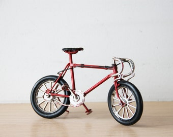 Vintage, red bicycle miniature, shabby, retro collectible, racing bike miniature, alloy red, decorative bike, early nineties