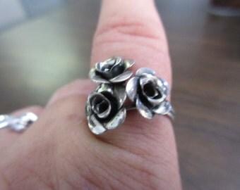 Sterling Silver Rose Adjustable Ring