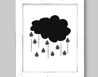 Black and White Rain Cloud - Wall Print - Minimal - 8x10