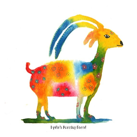 Notecards, Note Cards, Blank Notecards, Goat, Ibex, Spirit Animal, Animal, Animal Art, Animal Artwork, Colorful Animal Art,  Whimsical Art