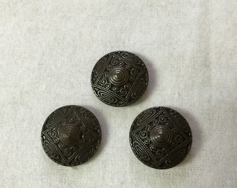 Vintage Art Deco Style Metal Buttons (Three)