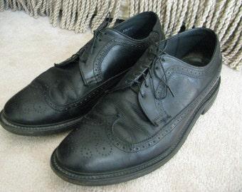 Mens Shoes Black Wingtip Oxford Size 9 D Leather Uppers Vintage Footwear Lace up Dress Shoe