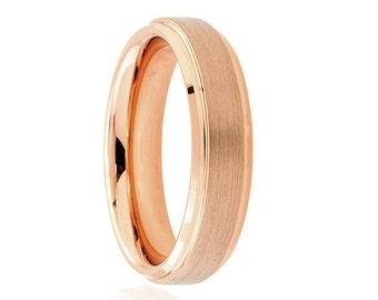 Rose Gold Wedding Band Ring Tungsten Carbide 6mm 18K Tungsten Brushed Ring Man Wedding Band Male Women Custom Laser Engraving Anniversary