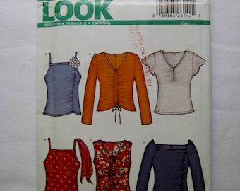 New Look Sewing Pattern 6204 Top Pullover Top Short Sleeve Top Sleeveless Top Stretch Knit Top Tank Top Misses Sizes 6 8 10 12 14 16 UNCUT