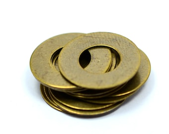 50 Pieces Antique Brass 16mm Round Disc Findings Charms