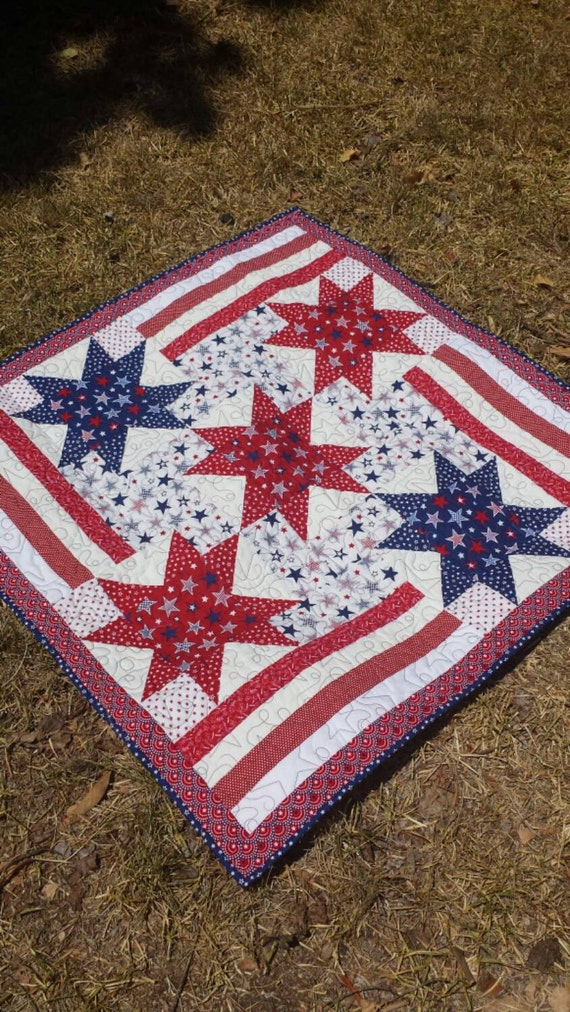 Patriotic Wall Hanging Quilt Large Table Topper Quilt Red