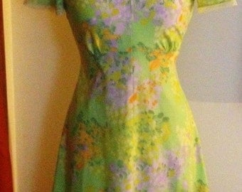 1960's Lime Green Monet Flower Dress