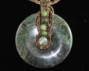 CLEARANCE Serpentine Circle Pendant/Neckpiece, Intricate Bronze Wirework, BC Jade, Pearls, Prehnite Accent Beads, Antiqued Brass Chain, OOAK