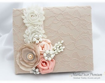 Wedding Lace Guest Book Champagne, Ivory, Peach, Blush Book, Signature Book, Birthday Book, Custom Bridal Flower Jeweled Pearl Guest Book
