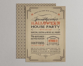 Printable Halloween Invitation - Rustic Halloween Invitation