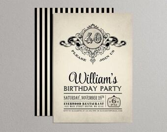 Printable Vintage Birthday Party Invitation - Adult Birthday Invitation