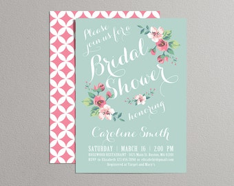 Printable Bridal Shower Invitation (mint and pink), Vintage Floral Invitation, Spring Summer Bridal Shower Invite