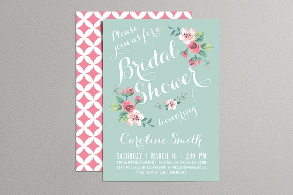 Printable Bridal Shower Invitation (mint and pink), Vintage Floral Invitation, Spring Summer Bridal Shower Invite