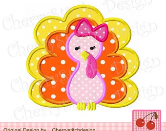 Thanksgiving Turkey Girl Applique TH0007,Turkey Digital Applique Design -4x4 5x7 6x10-Machine Embroidery Applique Design