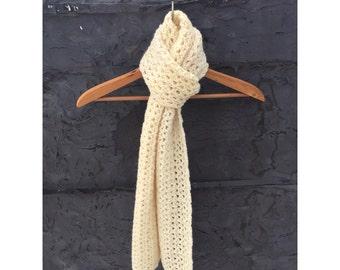Winter White Crochet Scarf