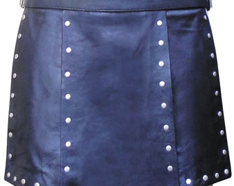 Real Leather Gladiator Kilt With Stud Work Custom Made Order  BKIN002 in Black Blue Red and Yellow