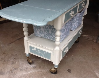 Vintage chalk painted Ethan Allen server spa blue old white silhouette of birds and branches