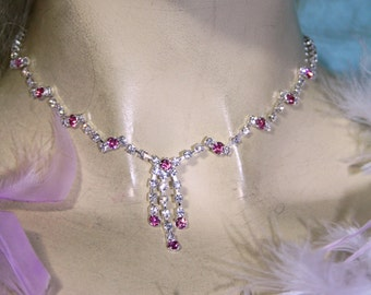 Pink Rhinestone Choker Necklace Earring Set Austrian Crystal Prom Bridal Jewelry