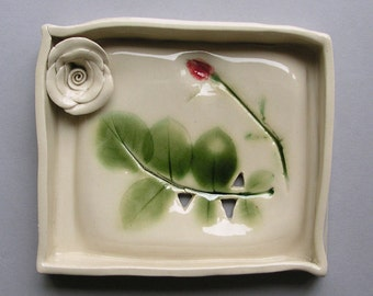rose soap dish with ceramic rose