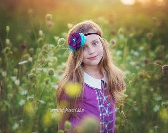 Dark Purple Teal Flower Headband ; Turquoise Plum double Rosette Flower Headband for Baby Toddlers Girls
