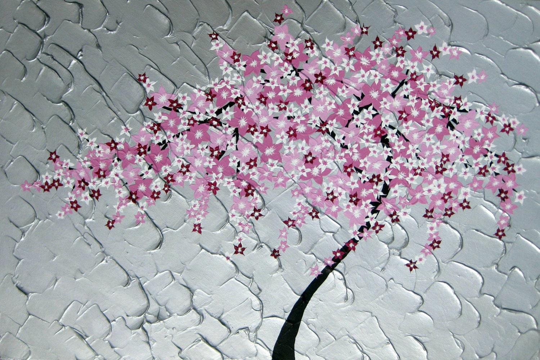 Peinture de fleurs de cerisier japonais art japonais art de - Papier peint fleur de cerisier japonais ...