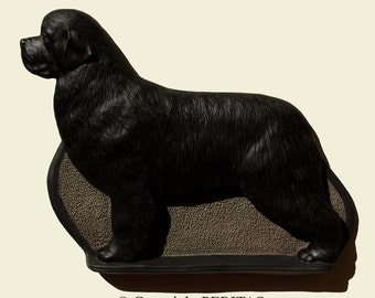 Hand painted Newfoundland dog Terre-Neuve Neufundländer Terranova Ньюфаундленд ニューファンドランド wall sculpture statue fine art relief